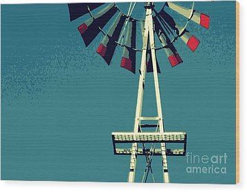 Windmill Wood Print by Valerie Reeves
