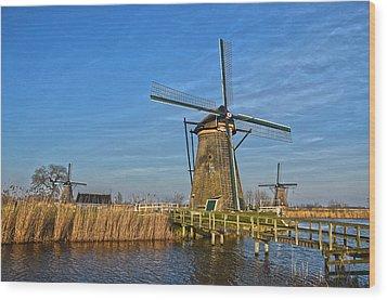 Windmills And Bridge Near Kinderdijk Wood Print