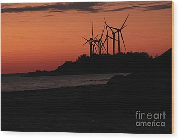 Wood Print featuring the photograph Windmills At Sunset by Jim Lepard