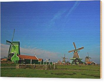 Windmills At Zaanse Schans Wood Print by Jonah  Anderson