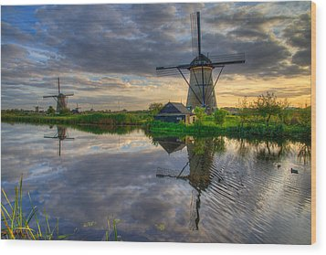 Windmills Wood Print by Chad Dutson