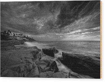 Windnsea Clouds Wood Print by Peter Tellone