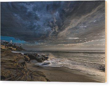Windnsea Stormy Wood Print by Peter Tellone