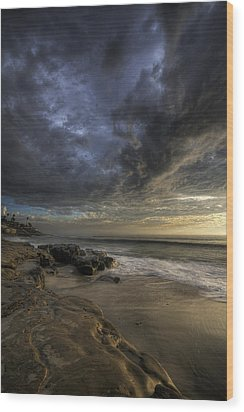 Windnsea Stormy Sky Wood Print by Peter Tellone