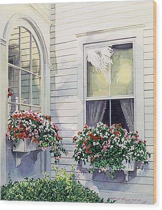 Window Boxes Wood Print by David Lloyd Glover
