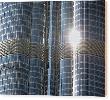 Wood Print featuring the photograph Window Cleaners Burj Khalifa by Henry Kowalski