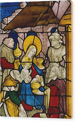 Window Depicting The Adoration Of The Kings Wood Print by Flemish School