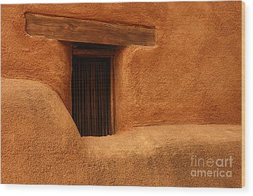 Window Detail Degrazia Mission In The Sun Wood Print by Vivian Christopher