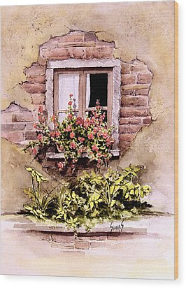 Window Flowers Wood Print by Sam Sidders