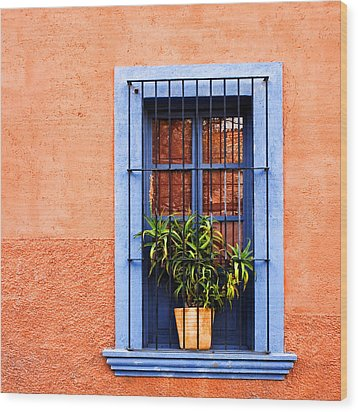 Window In San Miguel De Allende Mexico Square Wood Print by Carol Leigh
