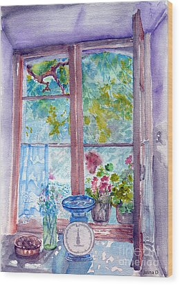Wood Print featuring the painting Window by Jasna Dragun