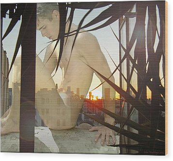 Window Ledge Ghost Boy Wood Print