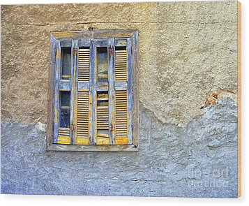 Window Nafplio Wood Print by A K Dayton