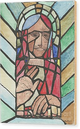 Wood Print featuring the painting Window Of Peace by Tracey Williams