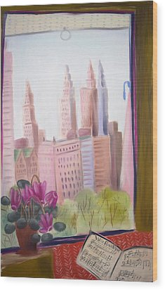 Window On Central Park South Wood Print by Tatjana Krizmanic