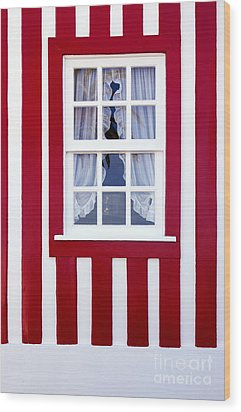 Window On Stripes Wood Print by Carlos Caetano