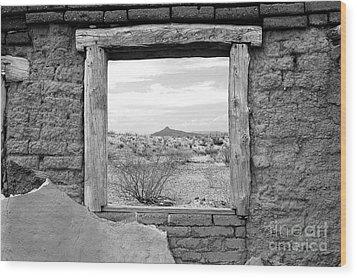 Window Onto Big Bend Desert Southwest Black And White Wood Print by Shawn O'Brien