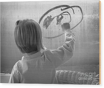 Window Painting Wood Print