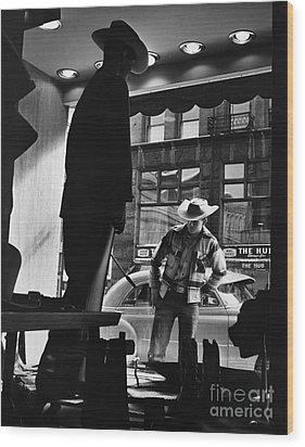 Window Shopping Cowboy Wood Print by Photo Researchers