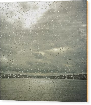 Wood Print featuring the photograph Window Tears by Sally Banfill