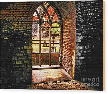 Window To Courtyard Wood Print by Rick Bragan