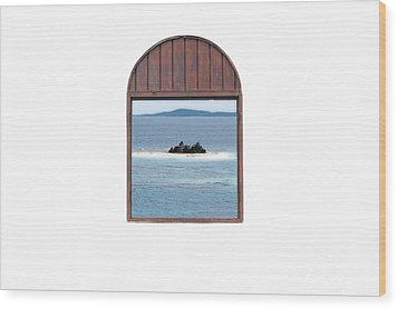 Window View Of Desert Island Puerto Rico Prints Diffuse Glow Wood Print by Shawn O'Brien