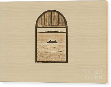 Window View Of Desert Island Puerto Rico Prints Rustic Wood Print by Shawn O'Brien