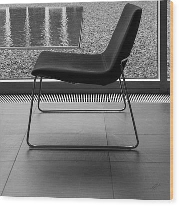 Window View With Chair In Black And White Wood Print by Ben and Raisa Gertsberg