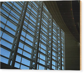 Wood Print featuring the photograph Window Wall At The Adrienne Arsht Center by Greg Allore