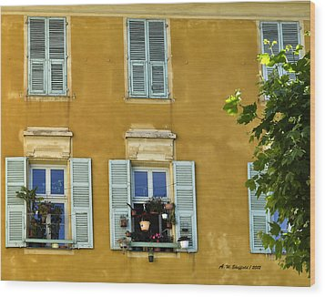 Wood Print featuring the photograph Windowboxes In Nice France by Allen Sheffield
