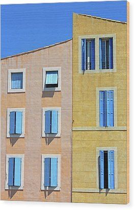 Wood Print featuring the photograph Windows Martigues Provence France by Dave Mills
