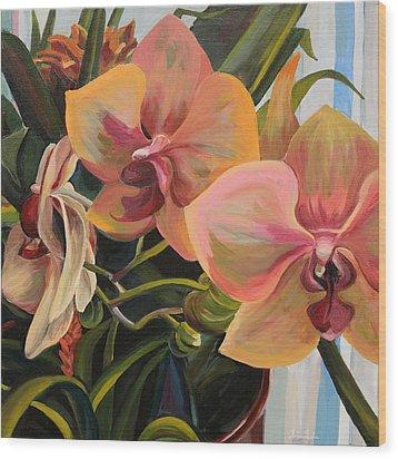 Windowsill Orchids Wood Print