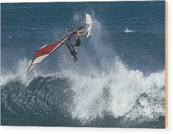 Windsurfer Hanging In Wood Print by Bob Christopher