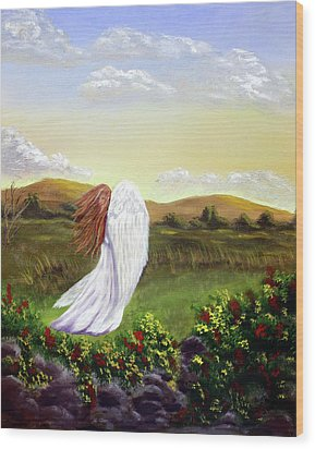 Windswept Angel Wood Print