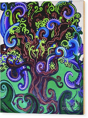 Windy Blue Green Tree Wood Print by Genevieve Esson