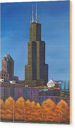 Windy City Autumn Wood Print by Johnathan Harris