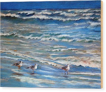 Windy Day At The Gulf    Pastel    Wood Print