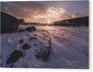Wood Print featuring the photograph Windy Sunrise by Steven Reed