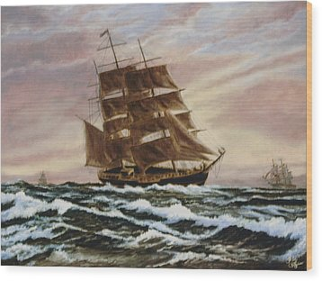 Wood Print featuring the painting Windy Voyage by Rick Fitzsimons