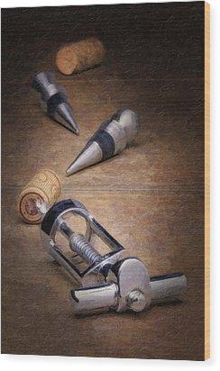 Wine Accessory Still Life Wood Print by Tom Mc Nemar