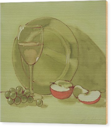Wine And Apple Wood Print