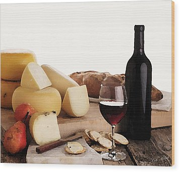 Wine And Cheese Wood Print by Cole Black