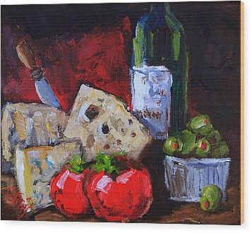 Wine And Cheeses Wood Print by Carole Foret