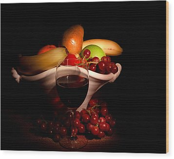 Wine And Fruit Wood Print by Cecil Fuselier