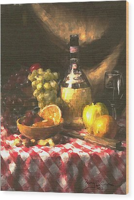 Wine And Fruit Wood Print