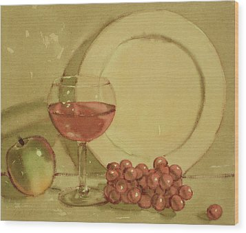 Wine And Plate Wood Print