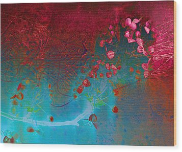 Wine And Roses Wood Print by Ann Powell