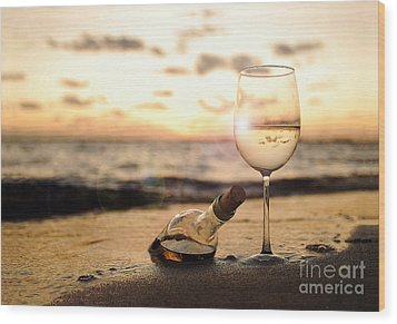 Wine And Sunset Wood Print