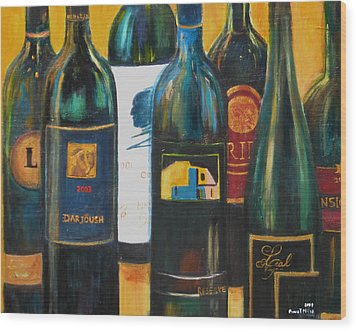 Wood Print featuring the painting Wine Bar by Sheri  Chakamian