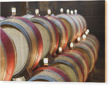 Wine Barrels Wood Print by Francesco Emanuele Carucci